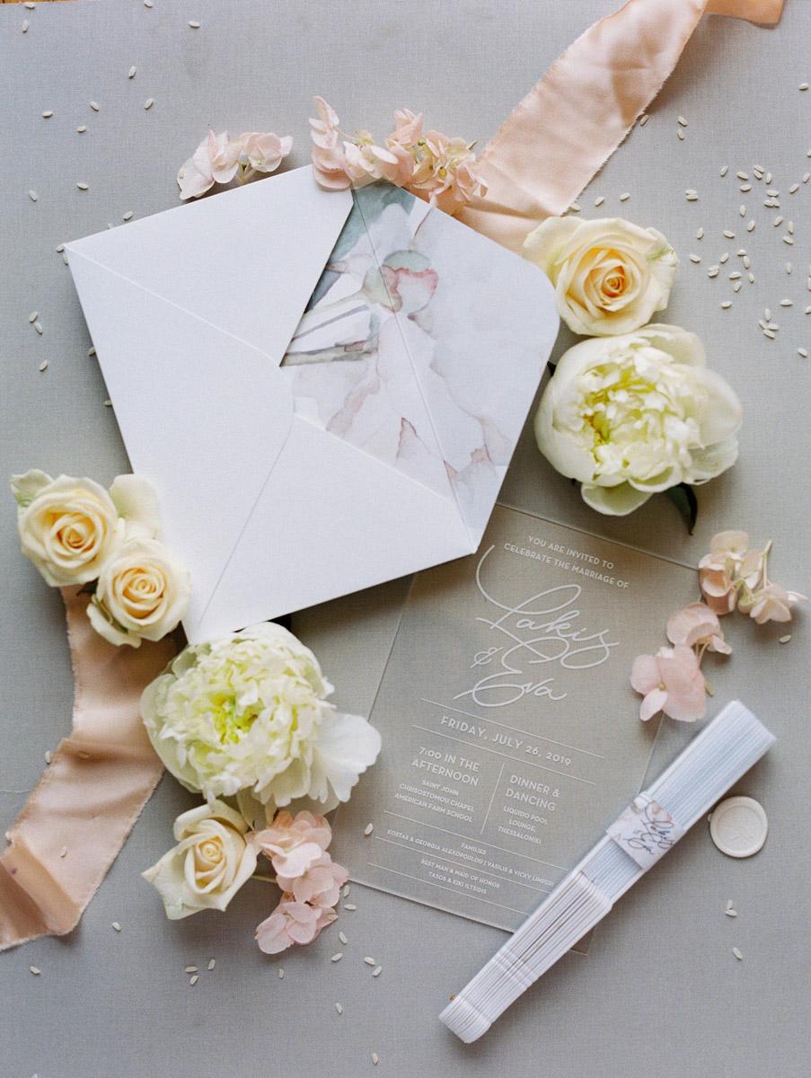 Wedding invitations greece – prosklitiria gamou – prosklisis gamou – romantic chalkidiki wedding - pastel colored acrylic invitations