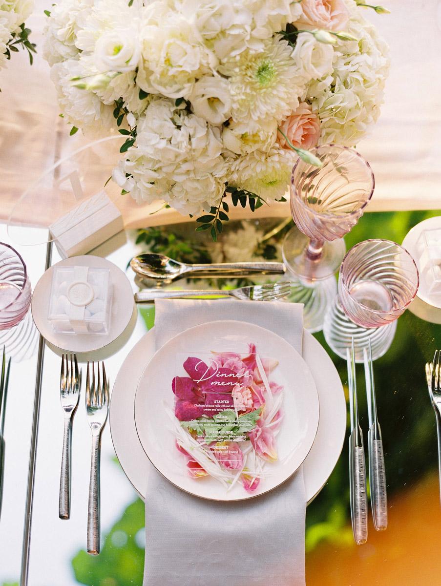 Wedding invitations greece – prosklitiria gamou – prosklisis gamou – romantic chalkidiki wedding - acrylic wedding menu on plate