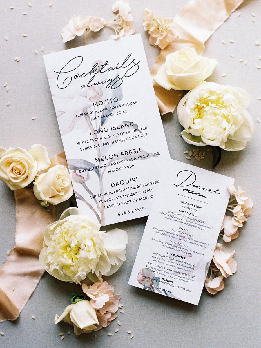 Wedding invitations greece – prosklitiria gamou – prosklisis gamou – romantic chalkidiki wedding - floral and modern wedding cocktails menu