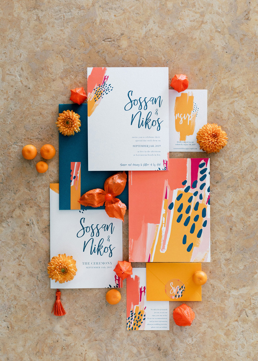 Wedding invitations greece – prosklitiria gamou – prosklisis gamou – colorful modern art wedding invitation suite