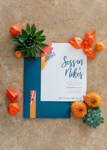 modern art colorful wedding invitations