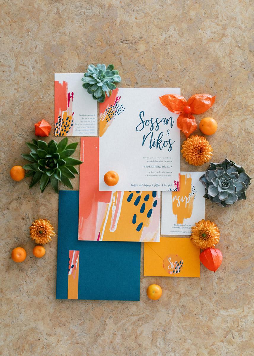 Wedding invitations greece – prosklitiria gamou – prosklisis gamou – colorful modern art wedding invitation stationery suite