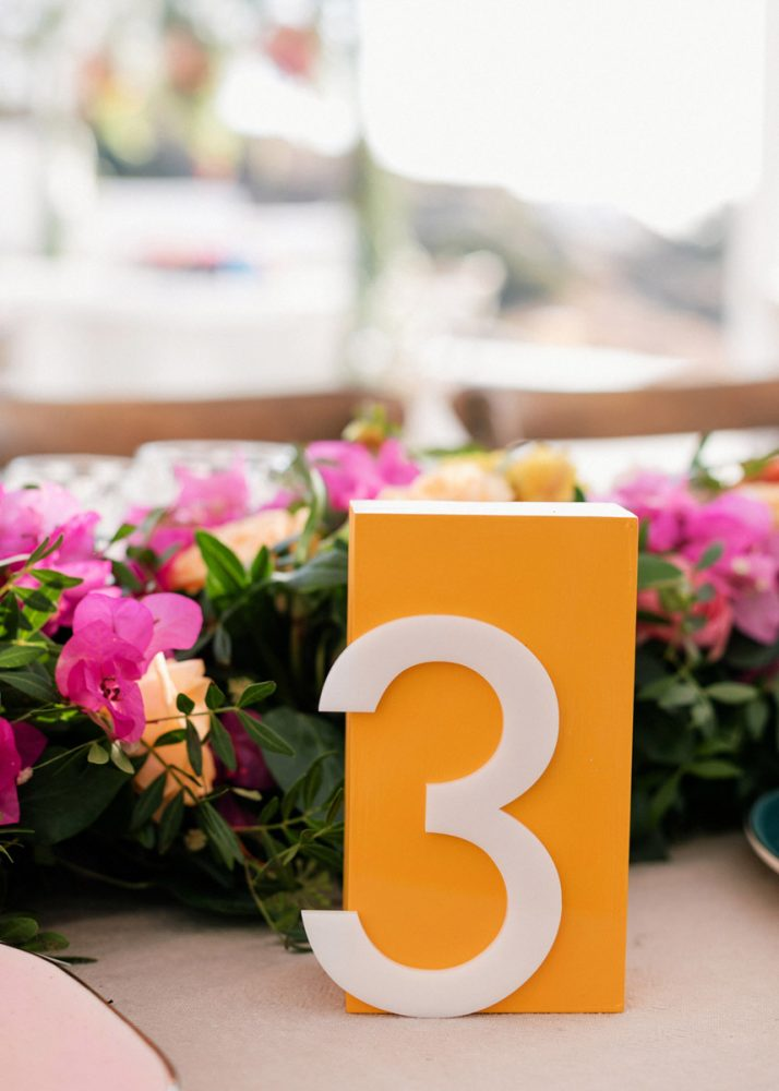 modern table number made from acrylic