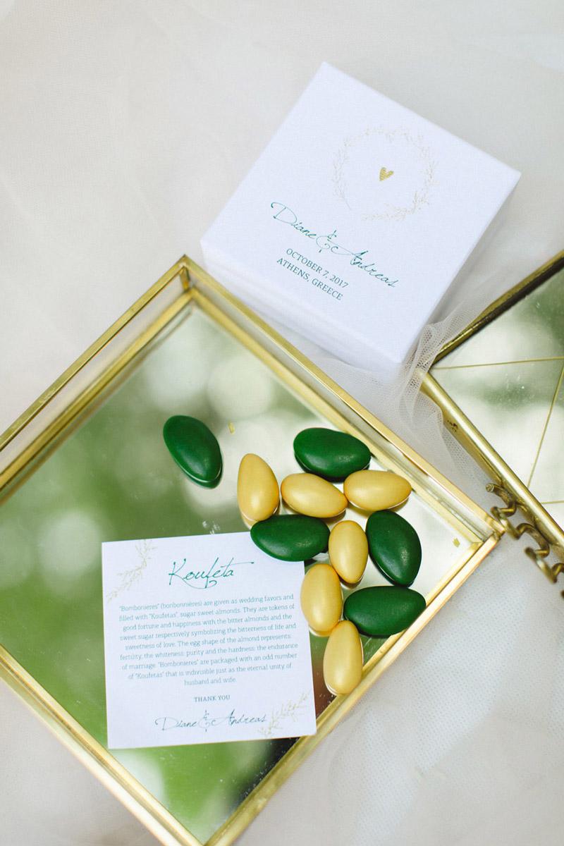 Wedding invitations greece – prosklitiria gamou – prosklisis gamou – koyfeta thank you cards for an emerald wedding in greece