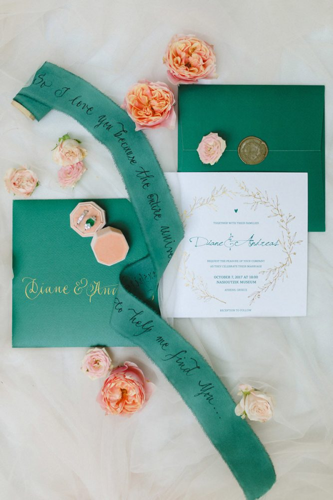 Wedding invitations greece – prosklitiria gamou – prosklisis gamou – emerald and white wedding stationery for a wedding in greece