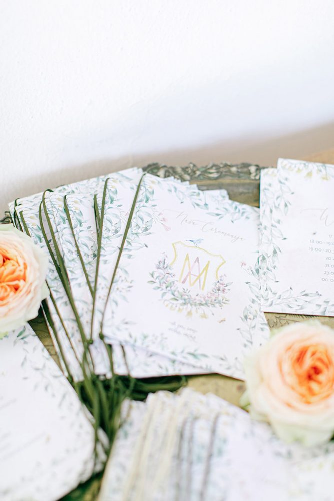 Wedding invitations greece – prosklitiria gamou – prosklisis gamou – fairytale pastels wedding - wedding vow booklets with flowers