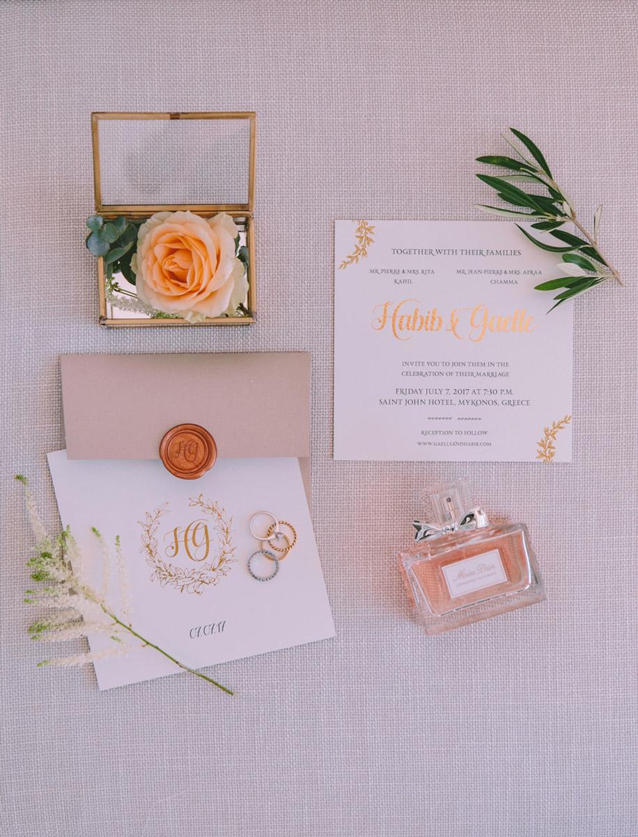 Wedding invitations greece – prosklitiria gamou – prosklisis gamou – romantic mykonos wedding - blush pink and white wedding invitations