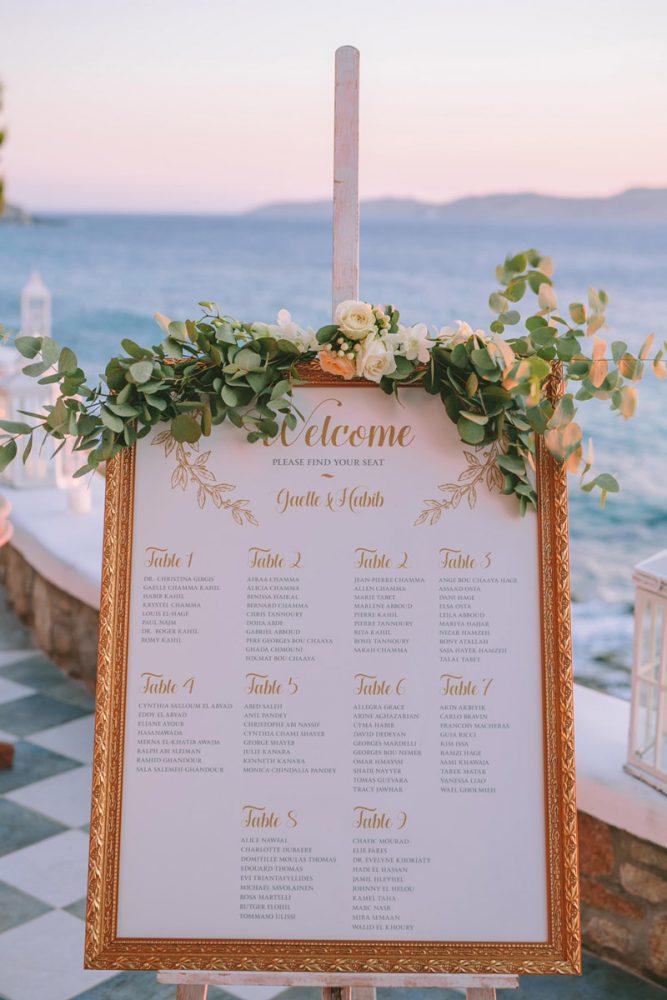Wedding invitations greece – prosklitiria gamou – prosklisis gamou – romantic mykonos wedding seating chart