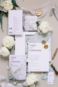 marble wedding invitation suite with gold and grey