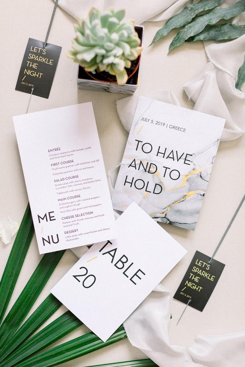 Wedding invitations greece – prosklitiria gamou – prosklisis gamou – modern and minimal wedding - marble wedding invitations