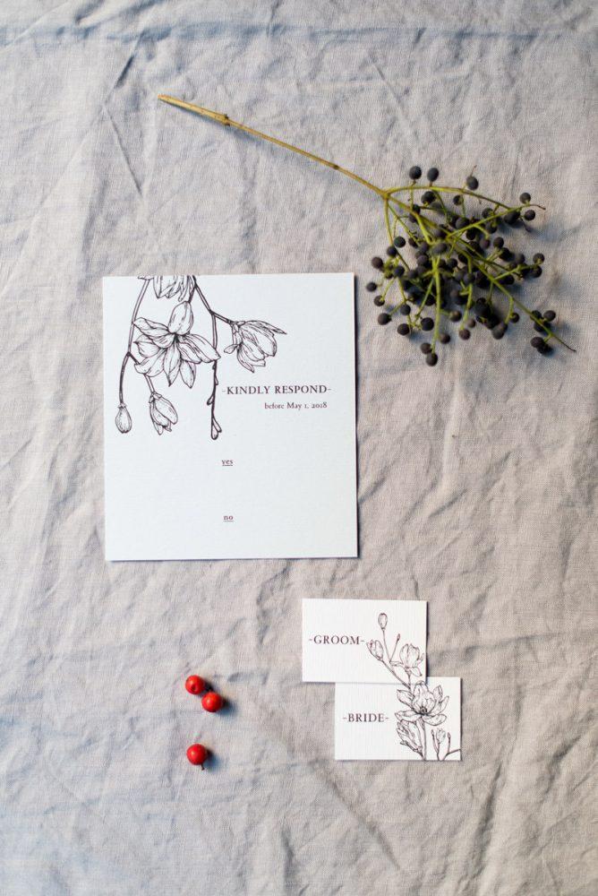 Wedding invitations greece – prosklitiria gamou – prosklisis gamou – botanical wedding - rsvp cards and personalised name cards