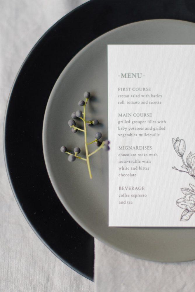 Wedding invitations greece – prosklitiria gamou – prosklisis gamou – botanical wedding - close up of minimal wedding menu