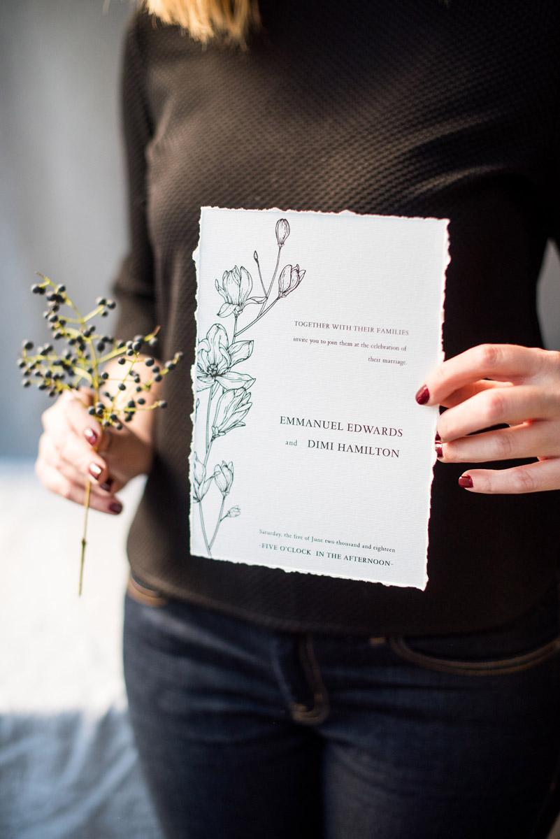 Wedding invitations greece – prosklitiria gamou – prosklisis gamou – botanical wedding - close up of wedding invitation
