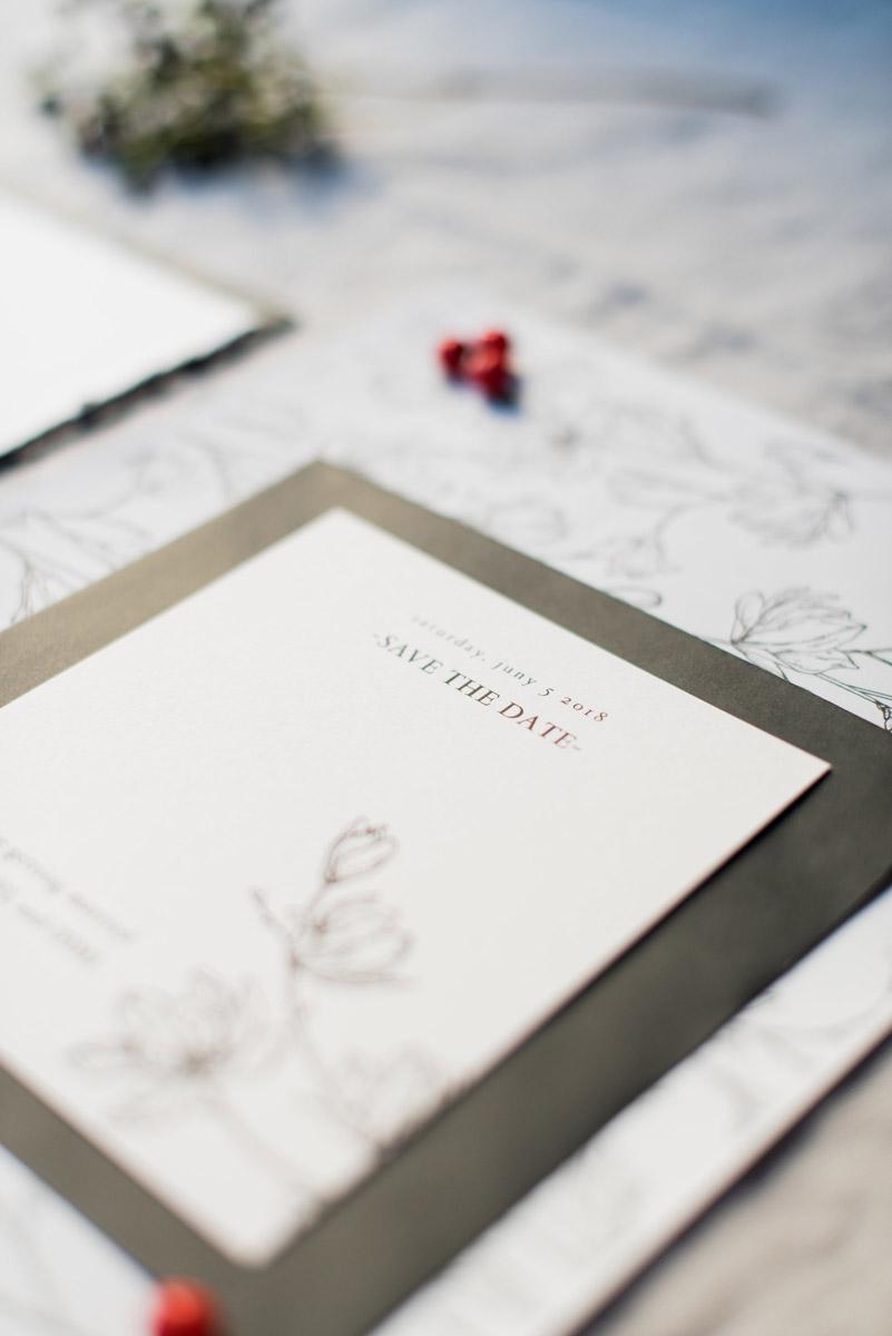 Wedding invitations greece – prosklitiria gamou – prosklisis gamou – botanical wedding - close up of personalised save the date